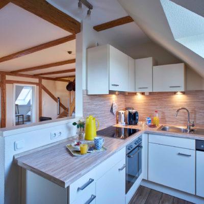 Offene Küche mit Blick ins Wohnzimmer Ferienwohnung